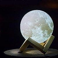 مصباح على شكل قمر ثلاثي الابعاد قابل لاعادة الشحن يمنح اضاءة بلون مريح وهادئ، ويستخدم للانارة والديكور المنزلي، 15 سم
