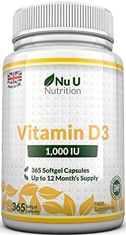 Vitamin D3 365 Softgels (Full Year Supply) 1000IU Vitamin D3