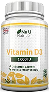 Vitamin D3 365 Softgels (Full Year Supply) 1000IU Vitamin D Supplement, High Absorption Cholecalciferol Vitamin D (Vitamin D3 softgels easier to swallow than Vitamin D tablets) by Nu U Nutrition