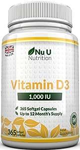 Vitamin D3 365 Softgels (Full Year Supply) 1000IU Vitamin D3 Supplement, High Absorption Cholecalciferol by Nu U Nutrition