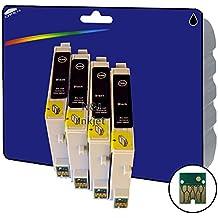 4de color negro non-original XL Cartuchos de tinta para Epson Stylus Photo C64, C66, C66foto, C84, C84N, C84WN, C86, CX3600, CX3650, CX6400, CX6600–Core-Tekk no OEM compatibles