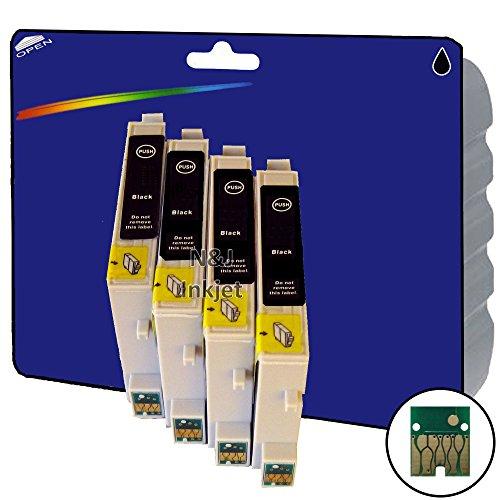 4Schwarz nichtoriginalersatzteile XL Tintenpatronen für Epson Stylus Photo R200, R220, R300, R300M, R320, R340, RX500, RX600, RX620, RX640-core-tekk nicht-OEM compatibles - Rx620 Inkjet-drucker