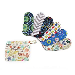 Shoze Bamboo Charcoal Reusable Cloth Menstrual Pads (6 Pack, Light Flow) Washable Panty Liners For Women, Overnight Sanitary Napkins, and Reduce Waste