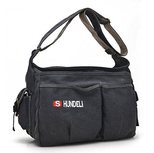 YAAGLE Neu Retor Unisex Schultertasche lässig Herren Umhängetasche Messenger Bag für Reise Sport Freizeit 38x15x30 CM schwarz schwarz
