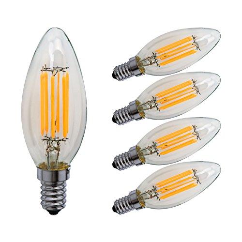 Weiß Kandelaber (Sagel C35 E14 LED Kerze Leuchtmittel 6W, Entspricht 60W Glühbirnen, 2700K Warm Weiß Kandelaber E14 Leuchtmittel, Dimmbar, 600lm, Kleine Edison Schraube Kerze Lampen, 5er Pack)
