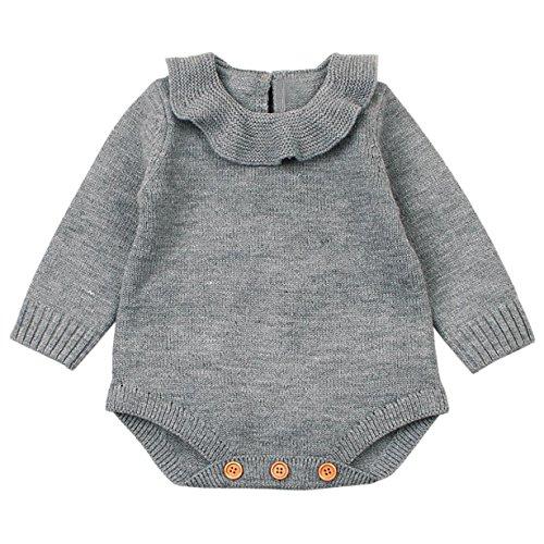 Ropa Bebé Unisex Longra ❤️ Mameluco de Bebé de Otoño e Invierno Ropa de Niños De punto (6M (73CM), 1-Gris)