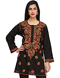 ADA Hand Embroidered Lucknow Chikan Regular Wear Cotton Short Top A225311