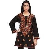 ADA Hand Embroidered Lucknow Chikan Regular Wear Cotton Short Top A225311