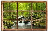 Bach im Wald Urwald Fluss Wandtattoo Wandsticker Wandaufkleber H0356 Größe 70 cm x 110 cm
