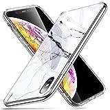 ESR Hülle Kompatibel mit iPhone XS/X, Marmor Glas Cover Schutzhülle für iPhone 5,8 Zoll-White Sierra