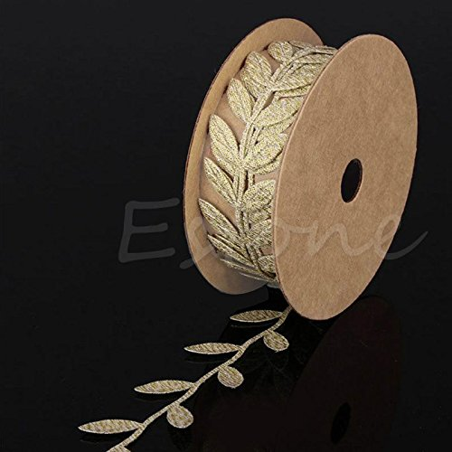 1M Satin Leaves Vine Garlands Ribbon Sew On Fabric Lace Trim Bridal Evening Party Wedding Supplies Africa Lace Fabric (Sewing Gold)