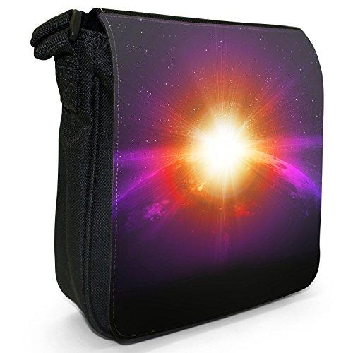 Esplorazione dello Spazio sacchetto di tela borsa a tracolla colore Nero Taglia S Earth Shiny Sunrise in Space