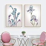 Modeganqingg Acquerello Viola Fiori Blu Pittura Astratta Botanica Floreale Immagine della Parete per la Decorazione nordica della casa 60x80 cm