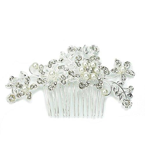Charmante Damen Braut Hochzeit Crystal Strass Perlen Dekor Blume Stil Haarspange Kamm Foxnovo