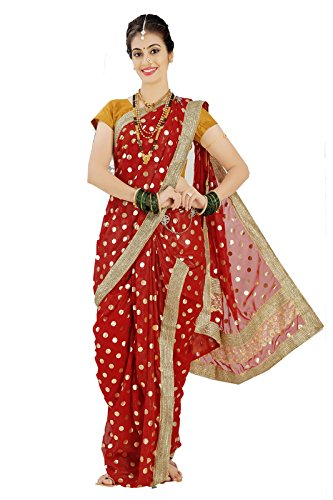 Bhartiya Vastra Bhandar Women's Ready To Wear Nauvari Saree(DNoA13_BajiraoMastani_Multi-Coloured_FreeSize)