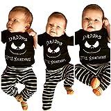 Felicove Kinderbekleidung Säugling Kinder Baby Mädchen Jungen Bekleidungssets Halloween Buchstaben Langärmlige Oberteile Tops + Streifen Hosen Outfits Set
