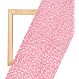 Handloom Palace Cotton Hand Block Printed Pink Un Stitched Craft Fabric