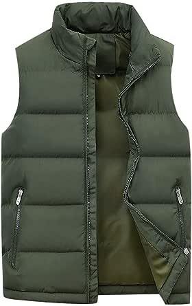 Mens Down Puffer Gilet Vest Body Warmer Waistcoat Padded Jacket Outwear Packable Winter Ultralight Gilets with Zipper Pockets Large Size 4 Colors M-6XL