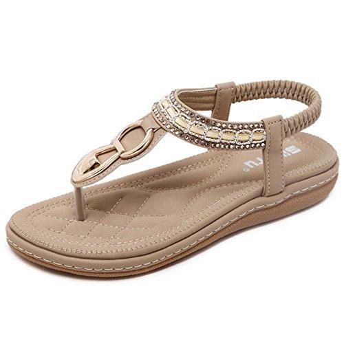 COOLCEPT Damen Mode Slip On Sandalen Slingback Flach Schuhe Aprikose
