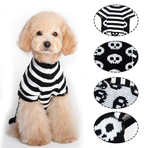 Pullover Halloween Pet Beliebtes Tier Kleidung Unisex Designer Weiß (Schwarz) baror Skull Head Kurve Hinten Klassisches Zopfmuster-Hund