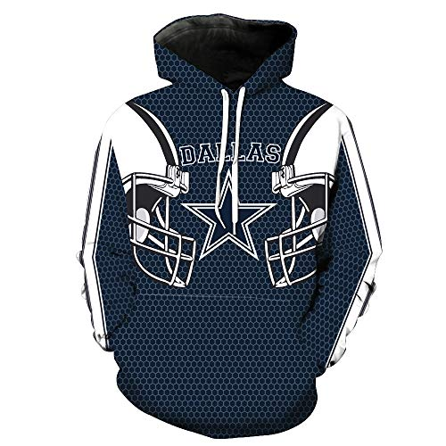 ZXTXGG Männer 3D Hoodies Dallas Cowboys NFL Football Team Uniform Muster Digitaldruck Kapuzenpullis Liebhaber Kapuzenpullis(M,Blau)