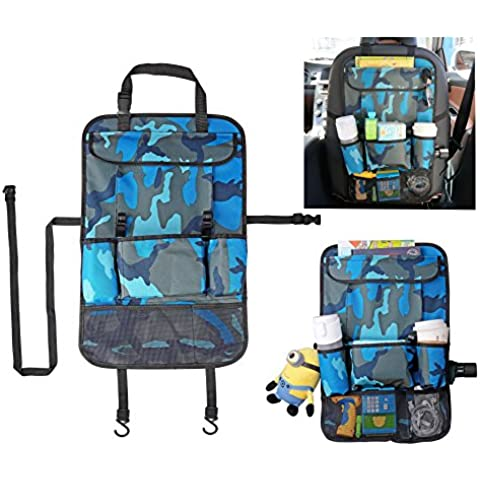 Yacool® múltiples funciones del coche del asiento trasero Organizador con almacenaje del recorrido de la tableta de bolsillo-Multi-bolsillo bolsa de basura de la bolsa del respaldo del asiento del vehículo protector de la cubierta--Camo azul