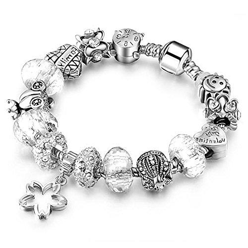 Akkki Beads Armband Strass Bettel Armreif Silber Anhänger Steine Schwarz Weiß Rot Kompatibel Blume Komplet mit Charms Sterne Perlen Damen Frauen Schmuck Kette Bänder Geschenk modele herz tiere passend (Tier Gabbana)