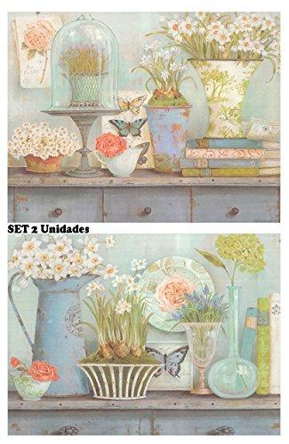 Dcine Cuadro de Flores variadas. Set de 2 Cuadros de 19x25 Cada uno
