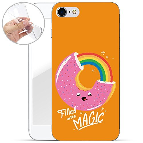 finoo | iPhone 8 Weiche flexible Silikon-Handy-Hülle | Transparente TPU Cover Schale mit Motiv | Tasche Case Etui mit Ultra Slim Rundum-schutz | Gameboy Donut Magic Gelb