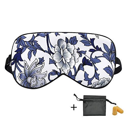 OLESILK 100% Seide Schlafmaske Verstellbare Augenmaske Atmungsaktive Schlafbrille Unisex Set mit Ohrstöpseln und Aufbewahrungsbeutel für Reise, Blau-Weiß -