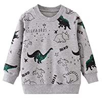BABSUE Little Boys Dinosaur T-Shirt Long Sleeve Sweatshirts Cotton Crewneck Cartoon Tops Tees Kids 1-8 Years