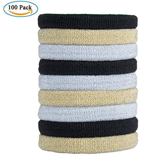 100 Stück Haarband Mädchen Haargummis – ZWOOS Nichtmetall Elastisch Haargummis Zopfband für Dicke Schwere Lange und Lockige Haare