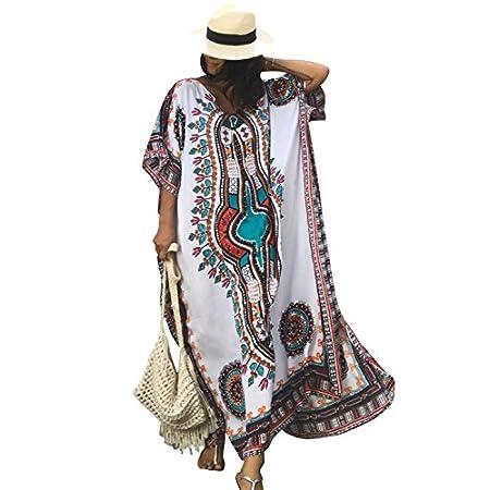 Ho Mall Bohême Mesdames Summer Elegant Beach Poncho Impression Ethnique lâche Caftan Smock Summer Maxi Dress