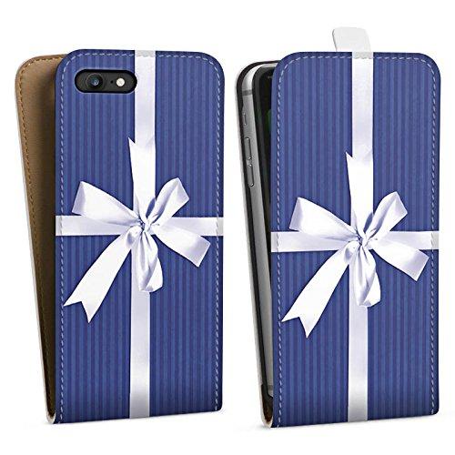 Apple iPhone X Silikon Hülle Case Schutzhülle Geschenk Schleife Blau Downflip Tasche weiß