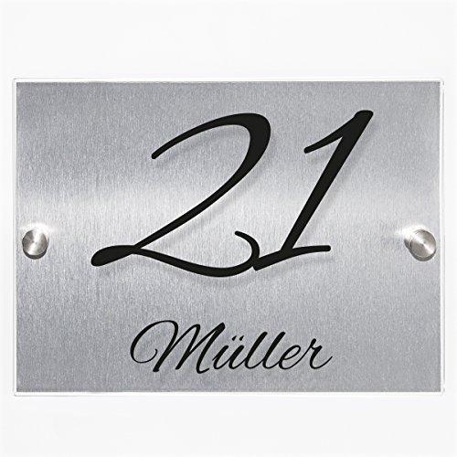 Wandkings Hausnummernschild – verschiedene Designs und Schriftarten wählbar / Schrift: Alex Brush – Name und Hausnummer - 2