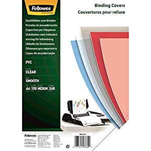 Fellowes A4 Binding Covers, PVC 240 Micron, Clear, Pack of 100