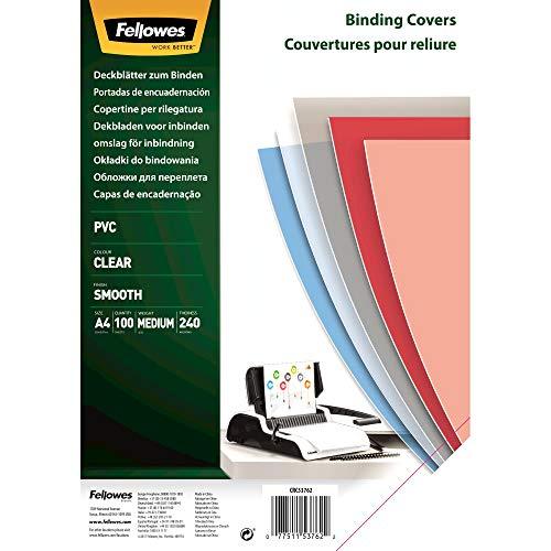 Fellowes Portadas para encuadernar de PVC transparente, formato A4, 240 micras, pack de 100