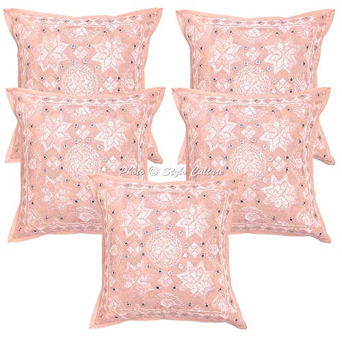 Stylo Culture Hand Work Cotton Decorative Cushion Covers Set of 5 Rajasthani 40x40 cm Peach 40x40 cm Embroidered Settee Sofa Mirrored Square Pillow Cases 16x16 Inch