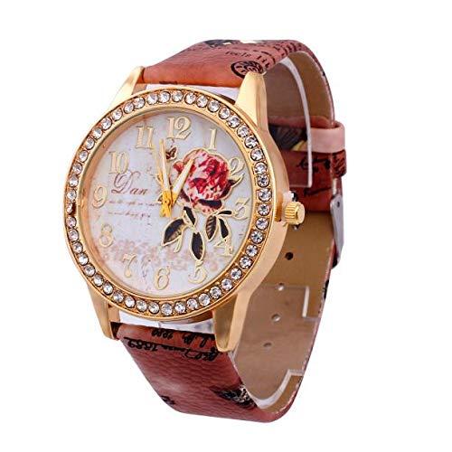 Suitray Uhren Damen, Romantische Blumen Frauen Armbanduhr Analoge Quarzuhr Beiläufig Uhr Geschenk,Runde Zifferblattgehäuse Lederband Uhren