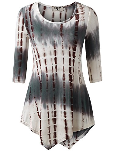 DJT Femme T-shirt Tie-dyed Manches 3/4 Col Rond Tops tombe bien Moka