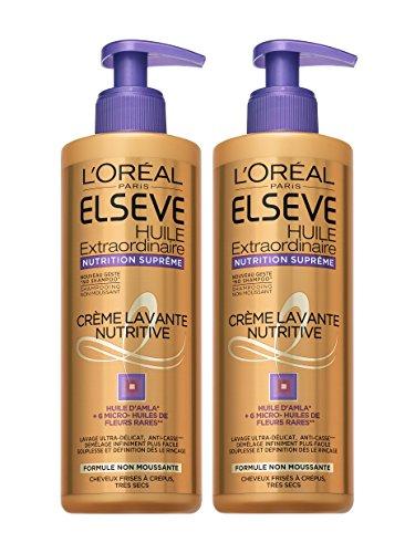 L'Oréal Paris Elsève Low Shampoo Nutrition Cheveux Frisés, Crépus, Très Secs 400 ml - Lot de 2
