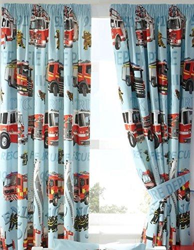 feuerwehr gardine Homespace Direct Fire Motoren Jungen blau Komplett Gefüttert bereit Made Bleistiftfalten 66x 72Vorhänge New