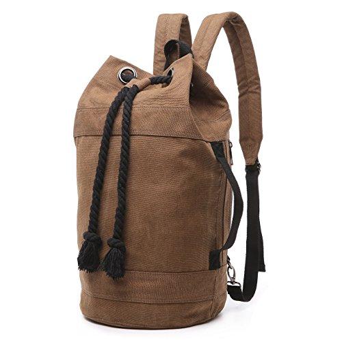 BAOSHA BP-22 Vintage Canvas Seesack Duffel Rucksack Drawstring Backpack Turnbeutel Sportbeutel Schultertasche (Großer Kaffee) -