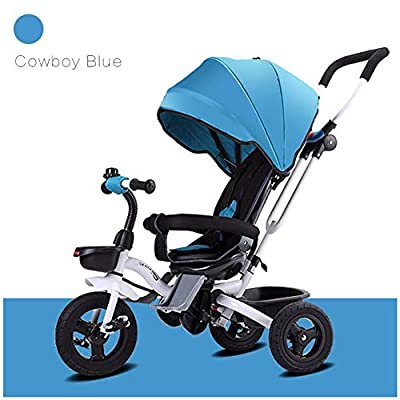 GSDZSY - Foldable Children Tricycle, Push Rod Adjusts Height And Control Direction, Seat Adjustable And Rotating, Baby Can Sit Or Half Lying,1-6 Years Old