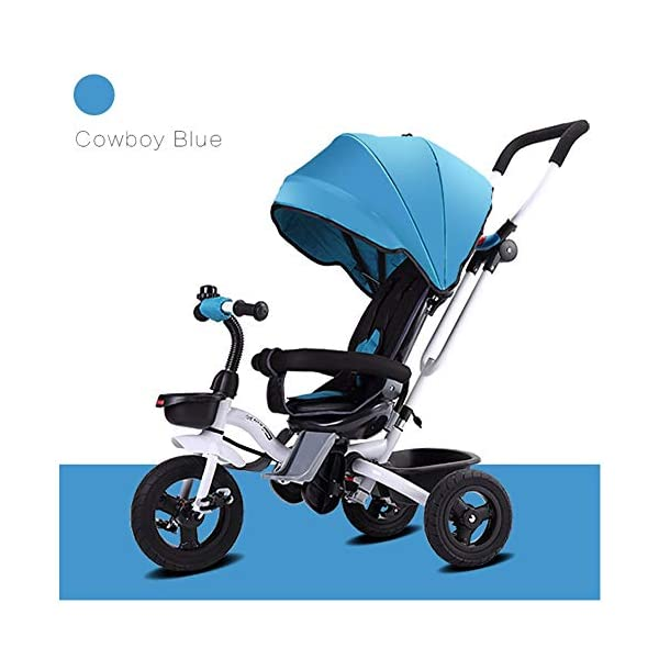 GSDZSY - Foldable Children Tricycle, Push Rod Adjusts Height And Control Direction, Seat Adjustable And Rotating, Baby Can Sit Or Half Lying,1-6 Years Old GSDZSY ❀ Material: High carbon steel + ABS + rubber wheel, suitable for children from 6 months to 6 years old, maximum load 30 kg ❀ Features: The push rod can be adjusted in height, the seat can be rotated 360, the backrest can be adjusted, the baby can sit or recline; the adjustable umbrella can be used for different weather conditions ❀ Performance: high carbon steel frame, strong and strong bearing capacity; non-inflatable rubber wheel, suitable for all kinds of road conditions, good shock absorption, seat with breathable fabric, baby ride more comfortable 1