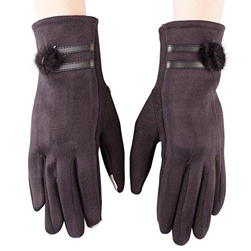 Gants pour femme, élégant, chaud pour écran tactile, dessus en daim et pompon, en diverses couleurs Style 03
