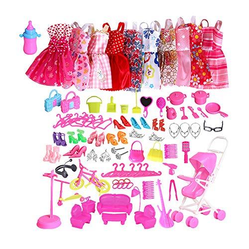 Hemore 10Pcs Mode Kleidung Zubehör Satz-beiläufige Kleidung Abendkleid Sets für Puppen mit Bonus Schuhe Schmuck Halskette Ohrringe Outfits Groß für Mädchen-Geburtstags (Random)