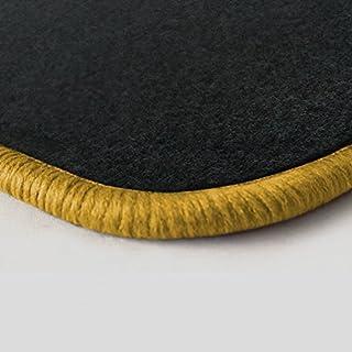 (Randfarbe nach Wahl) Passgenaue Fußmatten aus Nadelfilz Graphit mit gelbem Rand (201)