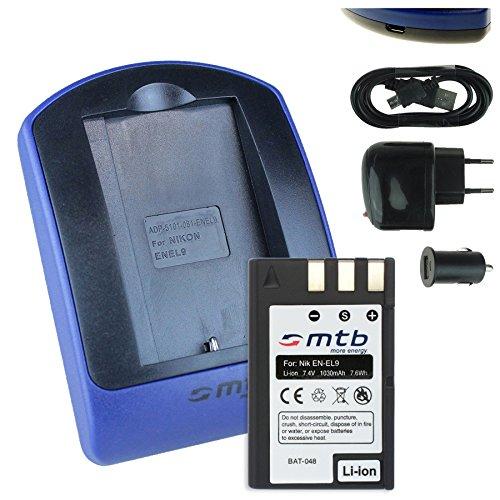 Baterìa + Cargador (USB/Coche/Corriente) para EN-EL9 ENEL9 / Nikon D40, D40x, D60, D3000, D5000