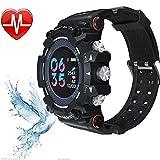 Fitness Tracker, Smart Watch, Men 50 ATM Waterproof Wristwatch Women MX16 Sport Armband Herzfrequenz-Monitor 10 Tage Long Time Standby,Black